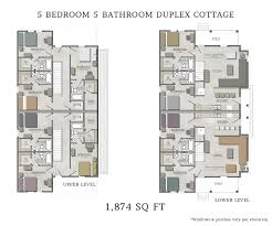 Duplex Floor Plan by 5 Bedroom Duplex Cottage Stand Alone Capstone Cottages Of San