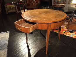 coffee table leather top italian fruitwood center table with embossed leather top circa