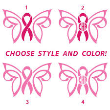 custom cancer awareness ribbon butterfly with monogram in