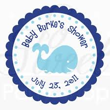 24 baby shower favor sticker labels whale theme personalized