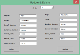 how to update and delete using excel vba userform vba userform