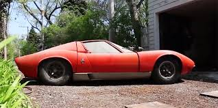 lamborghini miura race car this barn find lamborghini miura is back on the road after sitting