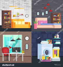 livingroom cartoon set modern furniture interior living room stock vector 572700754