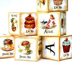 Dragonfly Nursery Decor Alice In Wonderland Wooden Baby Blocks Birthday Party Girls