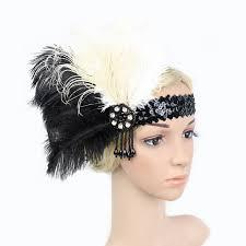 flapper headband black white feather flapper headbands 1920s gatsby flapper