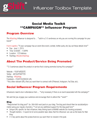 influencer marketing toolkit template gshift