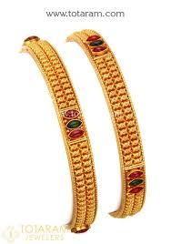 gold bangle bracelet set images 22k gold bangles set of 2 1 pair temple jewellery 235 jpg