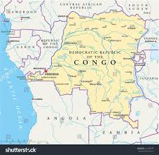 Congo River Map Congo Democratic Republic Political Map Capital Stock Vector