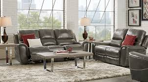 Gray Leather Reclining Sofa Lanzo Gray Leather 3 Pc Living Room With Reclining Sofa Leather
