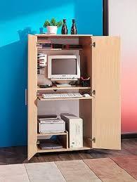 Rattan Computer Desk Solid Pine Desk 4 Door Computer Workstation Hideaway Hidden