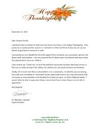 superintendent s thanksgiving message