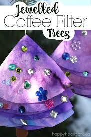 coffee filter jewelled trees for to make happy hooligans