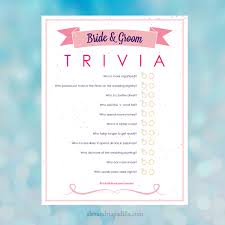 bride and groom trivia bridal shower game 8 5x11 instant