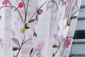 Indian Curtain Fabric Indian Voile Curtains Embroidery Design Flower Pattern Curtain
