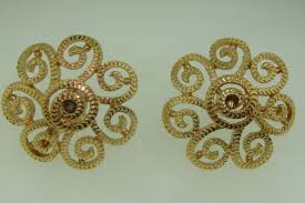 monet earrings beautiful vintage 1970 s era monet pat d gold tone filigree
