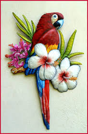 parrot home decor red parrot in tropical colors hand painted metal scarlet macaw
