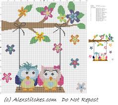 owls in on swing cross stitch pattern free cross stitch