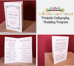 wedding program printable printable calligraphy wedding program icelebration custom designs