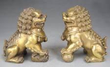foo lion statue fengshui bronze folk auspicious guard foo fu dog door lion
