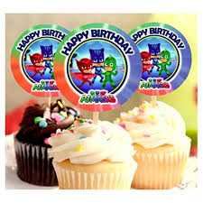 12 Happy Birthday Pj Masks Inspired Party Picks Cupcake Picks