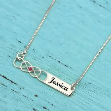 Infinity Necklace With Name Sterling Silver Double Infinity Bar Necklace With Birthstone