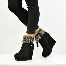 ankle boots uk ebay womens fur lined ankle boots wedge platforms winter