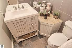 Gray Vanity Top Cottage Powder Room With Limestone Counters U0026 Slate Tile Floors In