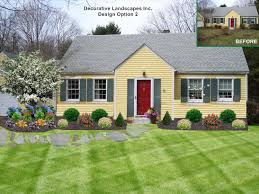 cottage style landscape on ranch style home dighton ma front