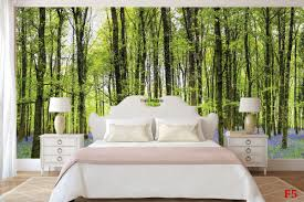 mural beautiful green forest with purple flowers wall mural beautiful green forest with purple flowers