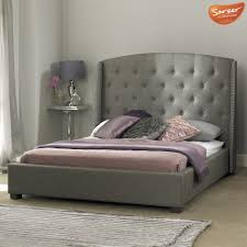 Box Spring Free Bed Frame by Signature Grey Fabric Bed Frame Tall Button Winged 4ft6 Double 5ft