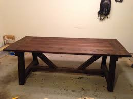 ana white 4x4 truss beam table with minwax jacobean stain prior to