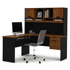 bestar innova l shape wood computer workstation with hutch in