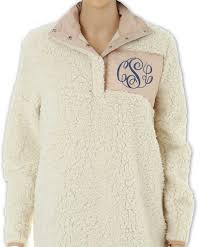 fast shipping monogram fleece sherpa sherpa sweatshirt