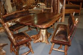 Teak Dining Room Set Furniture Brown Log Wood Dining Table With Chair Using Brown