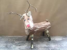 log reindeer handmade wooden log reindeer rudolf rudolph for sale in