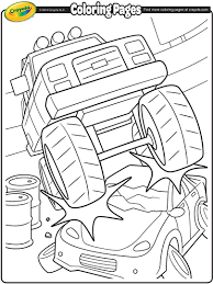 monster truck crushing a car coloring page crayola com