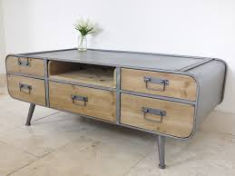 Maharani Coffee Table by Retro Industrial Coffee Table 5 Drawer W 119cm H 45cm D 61cm