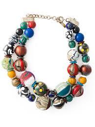 large bead necklace images Lyst etro double layer large beaded necklace jpeg