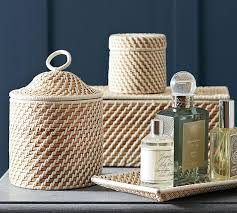 Wicker Bathroom Accessories by Woven Bath Accessories Pottery Barn