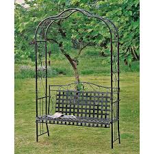 Antique Wrought Iron Outdoor Furniture by Amazon Com Mandalay Iron Patio Arbor Bench In Antique Black