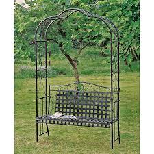 Metal Arbors Amazon Com Mandalay Iron Patio Arbor Bench In Antique Black