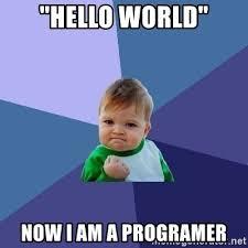 Programer Meme - hello world now i am a programer success kid meme generator