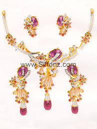 purple stone necklace set images Pakistani party jewellery set with purple semi precious stones jpg
