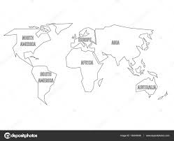 Flat World Map Simplified Black Outline Of World Map Divided To Six Continents