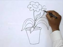 Draw A Flower Vase How To Draw A Flower Pot Youtube