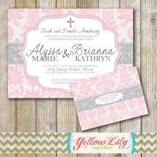 Baptism Invitation Cards Baby Baptism Invitation Twins Girls Diy By Yellowlilydesigns