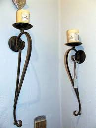 Tuscan Candle Wall Sconces Wrought Iron Candle Holder Wall Sconce Thesecretconsul Com