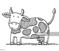 happy cartoon cow drawing vector art getty images