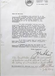 Letter Of Credit In Australia gough whitlam countersigns the dismissal letter with a for