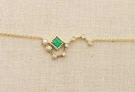 emerald pearl necklace images Ready to ship emerald pearl diamond big dipper 18k gold necklace jpg